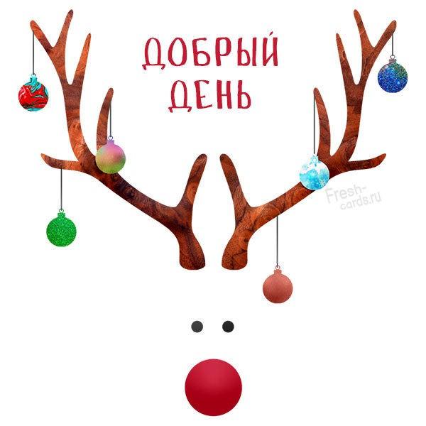 Красивая зимняя открытка добрый день